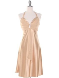 Halter Cocktail Dress with Rhinestone Pin. Style #: 7129. Get yours today at www.SungBoutiqueLA.com
