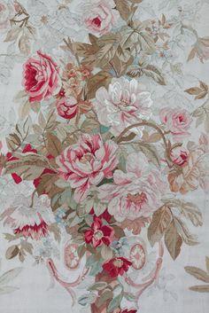 Pair of Century Aubusson Panels With Carved Matching Frames Motifs Textiles, Vintage Textiles, Textile Prints, Vintage Prints, Chintz Fabric, Linen Fabric, Etsy Fabric, Motif Floral, Floral Prints