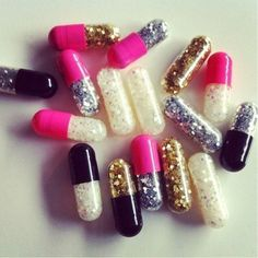 *L*OV*E*I*T* <3 *Emergency Glitter Pills! Are you having a bad day? Here's a pill to help. 1) Take a deep breath & Open pill. 2) Throw glitter everywhere. 3) Have a great day! :) Side effects may cause: Awesomeness, Sexy people to start staring, Jealously from the Haters. Enjoy! <3