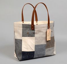TH-S & Co. Tote Bag With Leather Handles, Patchwork #5 x STANLEY & SONS