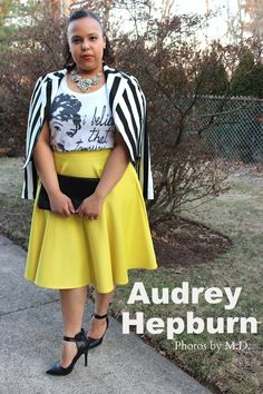 Audrey Hepburn. Yellow midi skirt. Black and white stripe cropped moto jacket. Forever 2. H&M. Black and yellow. Plus size fashion blogger. Curvy fashion. Spring outfits.