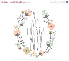 Black FRI & Cyber MON INSTANT Download Printable Typography Print, Do All Things With Love, Quote Art, Wall Decor, Home Decor, College Dorm $6