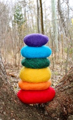 Wet wool felted rocks  -Supplies: Rocks, Wool roving, Felting needle (optional), Hot water, Soap