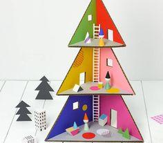 A Mod Dollhouse made from cardboard!