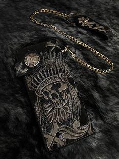 Indian skull black men biker long wallet handmade genuine leather L20 #Handmade #longwallet
