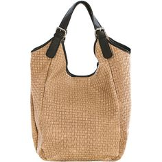 Lucca Baldi Taupe Woven Leather Hobo ($100) ❤ liked on Polyvore featuring bags, handbags, shoulder bags, woven leather handbag, beige purse, beige leather purse, genuine leather handbags and leather shoulder handbags