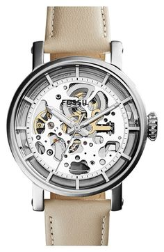 Free shipping and returns on Fossil 'Original Boyfriend' Skeleton Dial Leather Strap Watch, 38mm at Nordstrom.com. A see-through dial and matching caseback let you peek into the inner workings of this industrial automatic watch.