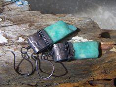 Rough Amazonite Slab Dangle Earrings by annamei on Etsy, $50.00
