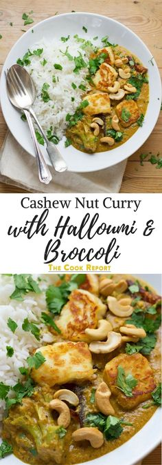 Using halloumi in this creamy cashew nut curry makes a tasty change from a tradi. Using halloumi in this creamy cashew nut curry makes a tasty change from a traditional curry. Sprinkle with a handful of whole cashews for an extra crunch. Rice Recipes For Dinner, Veg Recipes, Curry Recipes, Indian Food Recipes, Cooking Recipes, Cashew Recipes, Indian Vegetarian Recipes, Recipies, Broccoli Recipes