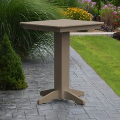 Outdoor A & L Furniture Poly 33 in. Square Bar Height Table - 4190-WITHOUT HOLE-WW WEATHERED WOOD