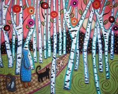 trees - abstract - birch trees - karla g - folk art - painting - primitive - flowers - cats - landscape - girl - moon