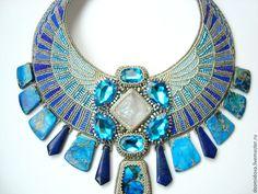 """Купить """"Атлантида"""" колье-оплечье - синий, необычное украшение, колье оплечье, сине-голубой, яшма"""
