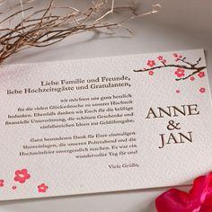 "Letterpress Save the-Date/Dankeskarte ""Blütenzauber"" INKLUSIVE TEXT"