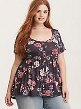 Plus Size Rose Print Button Front Babydoll Top,