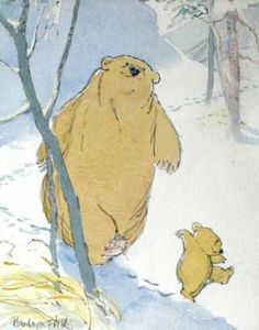 'PLOD PLOD PLOD' Barbara Firth from the book 'Let's Go Home, Little Bear' published by Walker Books Ltd in 1991 Media used: Watercolour and pencil Art And Illustration, Watercolor Illustration, Book Illustrations, Illustrator, Dibujos Cute, Bear Art, Childrens Books, Character Design, Penny Black