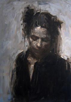 """Old Study"" - Derek Eli Sterile, oil on panel {figurative #expressionist female head woman face portrait painting}"