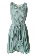Green Pleated Dress with Belt Party Dress - this is lovely!
