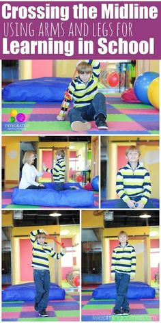 Cross the Midline: Crossing the Midline Exercises Using Arms and Legs for Brain Integration - Integrated Learning Strategies Gross Motor Activities, Gross Motor Skills, Sensory Activities, Therapy Activities, Activities For Kids, Physical Activities, Sensory Rooms, Learning Tips, Kids Learning