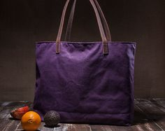 Totalizador de la lona encerada - bolsa grande - con lona impermeable de cuero correas - bolso púrpura-
