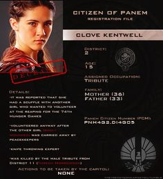 Day 1: My favourite character is Clove Kentwell because her death was sad, she was just a kid, she was probably FORCED to waste her life ion the hunger games and the Capitol killed her without a second thought. Also I'm team Clato.