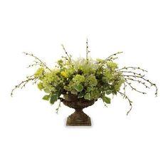Elegance Botanical Arrangement ($1,049) ❤ liked on Polyvore featuring home, home decor, floral decor, flower home decor, pedestal urn, frontgate, flower stem and flower urns