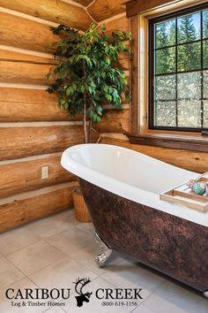 With the detail and precision that goes into a handcrafted log home it's no surprise the time it takes to create a custom home is longer than a milled-log-kit, or post and beam home. Because each log is meticulously chosen and individually crafted to match the adjacent logs. It is easy to see why handcrafted log homes offer a unique alternative to cookie-cutter log cabins. They not only offer custom design combinations, but unmatched artistic flare! #logcabins #cariboucreekloghomes…