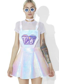 Cosmic Unicornz Holographic Jumper did you just come back from Candyland, bb? Cuz you look sweet af! This supa cute jumper features a mega shiny holographic faux snakeskin construction, holographic purple front pocket, overall straps with plastic buckle clips and back zipper closure.