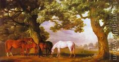 George Stubbs:Mares and Foals Beneath Large Oak Trees, c.1764-68