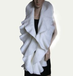 Free shipping  Scarf Shawl Hand Felted super soft ivory by ProninA