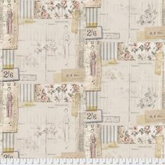 Fabric Eclectic Elements Vogue Multi, Memoranda III Collection from Tim Holtz for Free Spirit, PWTH 109 - fat 1/4