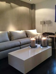 couch and candles not the color of the wall My Living Room, Interior Design Living Room, Home And Living, Living Room Decor, Gray Interior, Modern Interior, Living Room Inspiration, Interior Inspiration, Small Space Interior Design