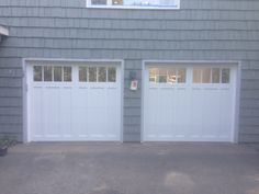 @C.H.I. Overhead Doors model 5832 Fiberglass Carriage House Style in White with Madison Glass. Installed by Mortland Overhead Door. mortlanddoor.com Garage, Overhead Door, Doors, House Styles, Outdoor Decor, Curb Appeal, House, Garage Doors, Lake House