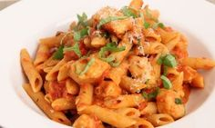 Penne Vodka with Chicken Recipe - Laura in the Kitchen - Internet Cooking Show Starring Laura Vitale Penne Vodka, Vodka Sauce, Penne Pasta, Sauce Recipes, Pasta Recipes, Chicken Recipes, Dinner Recipes, Cooking Recipes, Kitchen Recipes