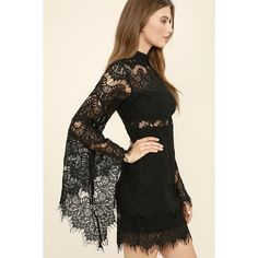 Mink Pink Drama Queen Black Lace Dress (120 CHF) ❤ liked on Polyvore featuring dresses, black, lace dress, two piece dresses, lace bell sleeve dress, 2 piece lace dress and long lace dress