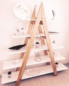Trendy A-frame 5 tier shelf for an instant contemporary update to your home