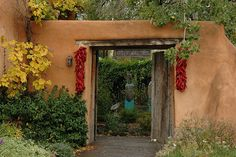 Santa Fe, New Mexico | Decorated with Ristras (Dried chili pepper pods.)