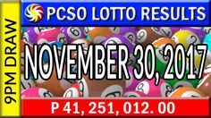 PCSO Lotto Results November 30, 2017 (6/49, 6/42, 6D, SWERTRES & EZ2 LOTTO) Lotto Results, Lottery Tips, November, Youtube, November Born, Youtubers, Youtube Movies