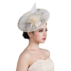 3Colors Woman headwear vintage royal sinamay fascinator hat flower feather fascinators hair accessories wedding party hairband