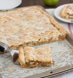 Frosted Apple Slab Pie by Fox Fox Fox Fox's Culinary Adventures I Tracey Wilhelmsen Would be a great make ahead for camping. Köstliche Desserts, Delicious Desserts, Dessert Recipes, Yummy Food, Apple Slab Pie, Apple Pie Bars, Apple Tarts, Apple Cobbler, Apple Recipes