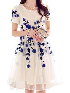 550b69c919d Embroidery Back Zipper Mid Waist Knee-Length Dress Women Summer Spring  Casual Dress - BuyTrends