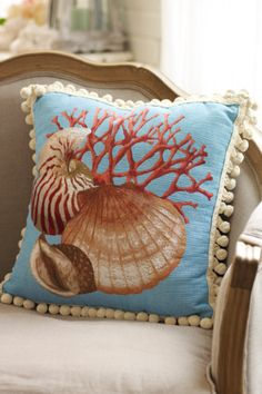 Seaside Tapestry Pillow from Soft Surroundings Coral Pillows, Silk Pillow, Soft Surroundings, Decorating Your Home, Summer Decorating, Decorative Throw Pillows, Tapestry, Crafty, Beach House