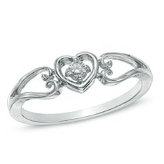 Diamond Accent Solitaire Heart Promise Ring in 10K White Gold. this is my favorite one of them all. friends take notes! lol