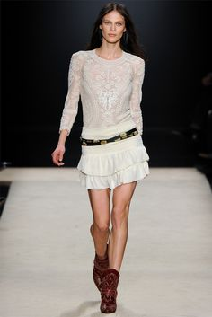 Cream, lace, boots and chunky belt     ISABEL MARANT - READY TO WEAR - FALL WINTER 2012 - PARIS
