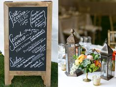 The chalkboard menu sign is a great idea: saves money on paper menus!