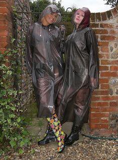 Smoke grey semitransparent PVC coat and rubber boots for outdoor walk #RaincoatsForWomens