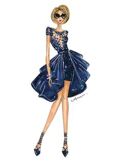 This is a print of a fashion illustration inspired by a look from the Zuhair Murad Fall 2015 collection, originally done in prismacolor markers, ink pens,