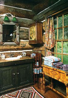 Kitschy and cute bath for the log cabin