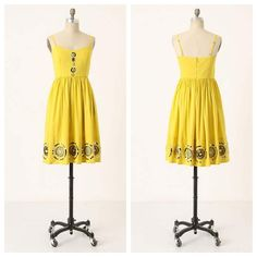 "Anthro 'SUN RAYS MEDALLION DRESS' A sunny frock fit for island hopping or city shopping glitters with heavenly pailettes surrounding lacy, crocheted bursts. By Girls from Savoy.  Adjustable straps  Back zip  Cotton; cotton lining  Dry clean  40""L Anthropologie Dresses"