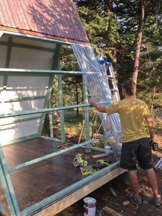 "The making of ""A tiny A-frame"" (Part - Building a tiny A-frame (Part You are in the right place about Pergola garten Here we offer yo - A Frame Cabin, A Frame House, Bungalows, Patio Roof Covers, How To Build A Log Cabin, Tiny House Cabin, Pergola Plans, Pergola Kits, Pergola Ideas"