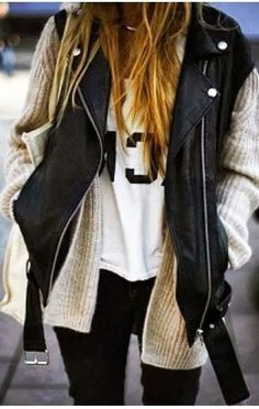 Fall Outfit With Black Leather Jacket and Cozy Cardigan